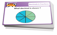 3rd grade fractions and decimals cards - For math card games and math board games on third grade math