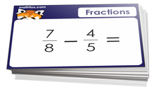 4th grade math cards on fractions - For math card games and math board games