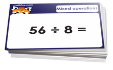 4th grade math cards on mixed operations - For math card games and math board games