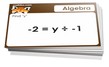 5th grade math cards on algebra equations - For math card games and board games