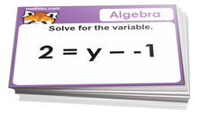 5th grade math cards on algebra - For math card games and board games