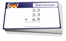 6th grade math decimals cards - For math board games