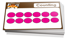 Kindergarten cards on learning how to count - for math card games and math board games - PDF