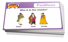 Kindergarten positions and spatial sense cards for math card games and math board games - PDF