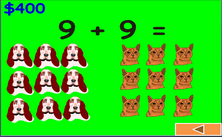 1st grade addition with pictures Jeopardy PPT game to practice first grade addition skills