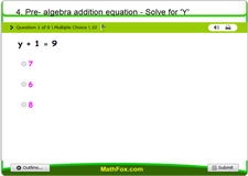 4 pre algebra addition equation solve for y