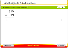 Add 3 digits to 2 digit numbers