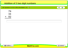 Addition of 3 two digit numbers