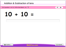 Addition subtraction of tens
