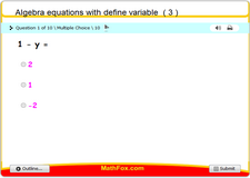 Algebra equations with define variable 3
