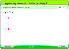 Algebra equations with define variable 9