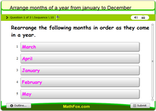 Arrange months of a year from january to december