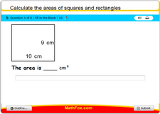 Calculate the areas of squares and rectangles