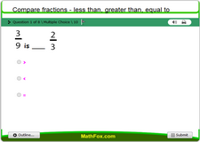 Compare fractions less than greater than equal to
