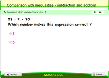 Comparison with inequalities subtraction and addition