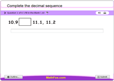Complete the decimal sequence
