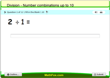 Division number combinations up to 10