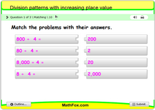 Division patterns with increasing place value