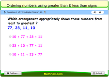 Ordering numbers using greater than and less than signs