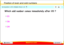 Position of even and odd numbers