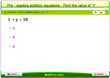 Pre algebra addition equations find the value of y 1