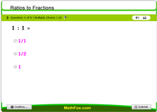 Ratios to fractions