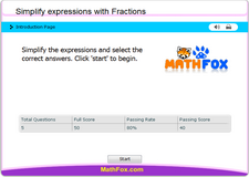 Simplify expressions with fractions