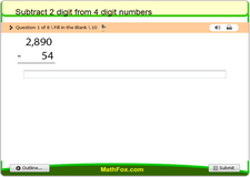 Subtract 2 digit from 4 digit numbers