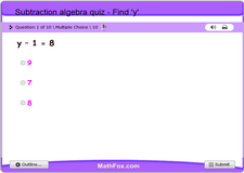 Subtraction algebra quiz find y