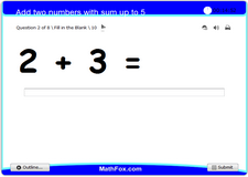 Add two numbers with sum up to 5