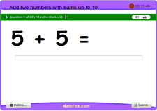 Add two numbers with sums up to 10