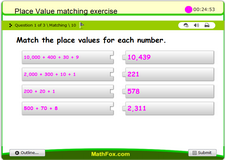 Place value matching exercise
