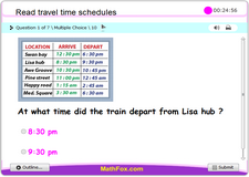 Read travel time schedules