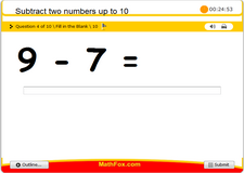 Subtract two numbers up to 10