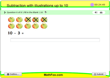 Subtraction with illustrations up to 10
