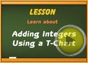 Adding integers using T chart video