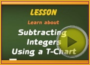 Subtracting integers using T chart video