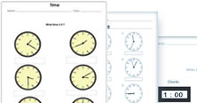 1st grade telling time math worksheets. PDF printable