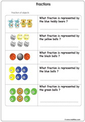 Fractions of objects illustrated with pictures