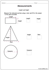 Measurements of squares triangles