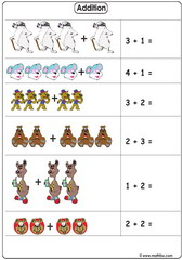 Addition with illustrations up to 5