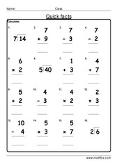Quick addition division facts