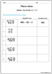 Place value expanded and standard form