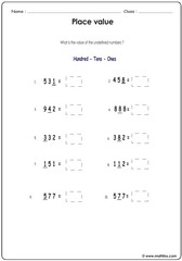 Place value with underlined numbers