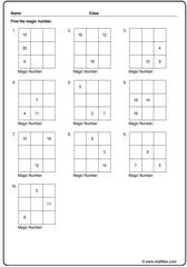 Addition magic square exercise
