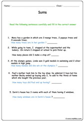 Addition sentence word problems