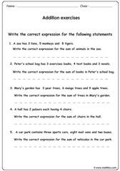 Addition word problem equations