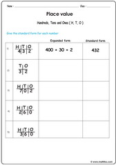Place value exercise 2