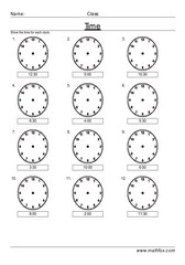 Time digital to analogue clocks 30 minutes
