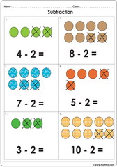 Subtract 2 with dots up to 10 worksheet